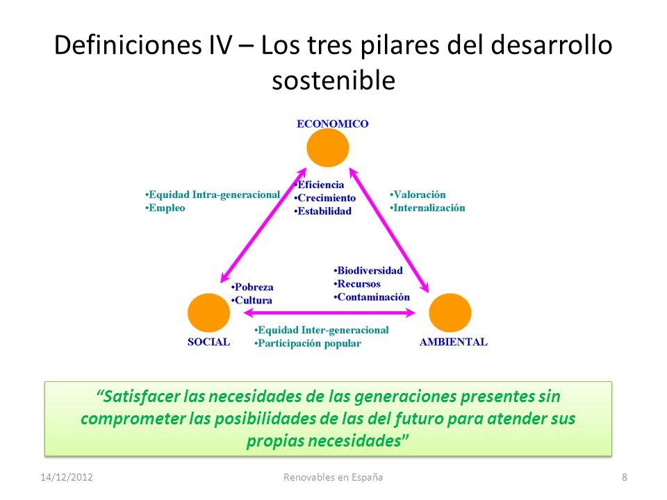 Definiciones IV – Los tres pilares del desarrollo sostenible 14/12/2012Renovables en España8 Satisfacer las necesidades de las generaciones presentes
