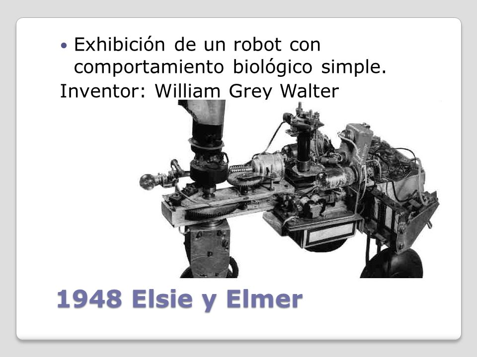 1930 ELEKTRO Se exhibe un robot humanoide en la World's Fairs entre los años 1939 y 1940 Inventor: Westinghouse Electric Corporation