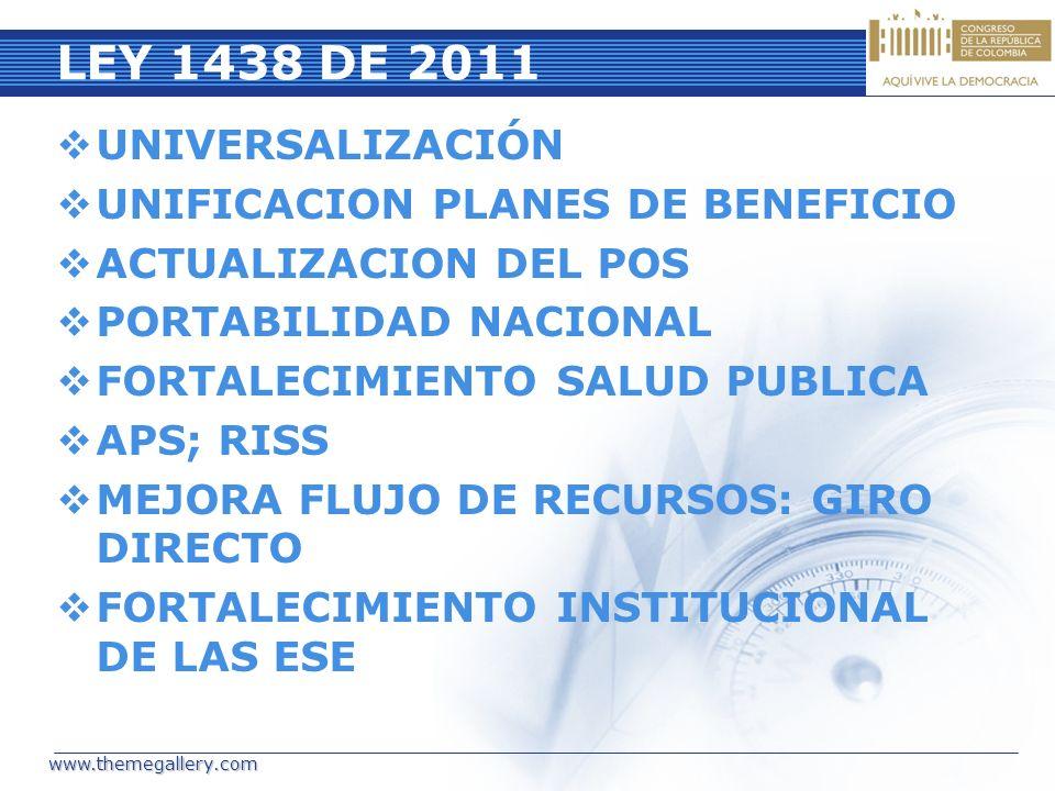 LEY 1438 DE 2011 UNIVERSALIZACIÓN UNIFICACION PLANES DE BENEFICIO ACTUALIZACION DEL POS PORTABILIDAD NACIONAL FORTALECIMIENTO SALUD PUBLICA APS; RISS