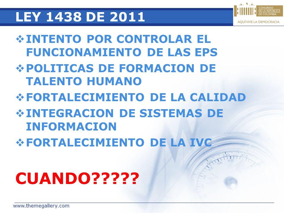 LEY 1438 DE 2011 INTENTO POR CONTROLAR EL FUNCIONAMIENTO DE LAS EPS POLITICAS DE FORMACION DE TALENTO HUMANO FORTALECIMIENTO DE LA CALIDAD INTEGRACION