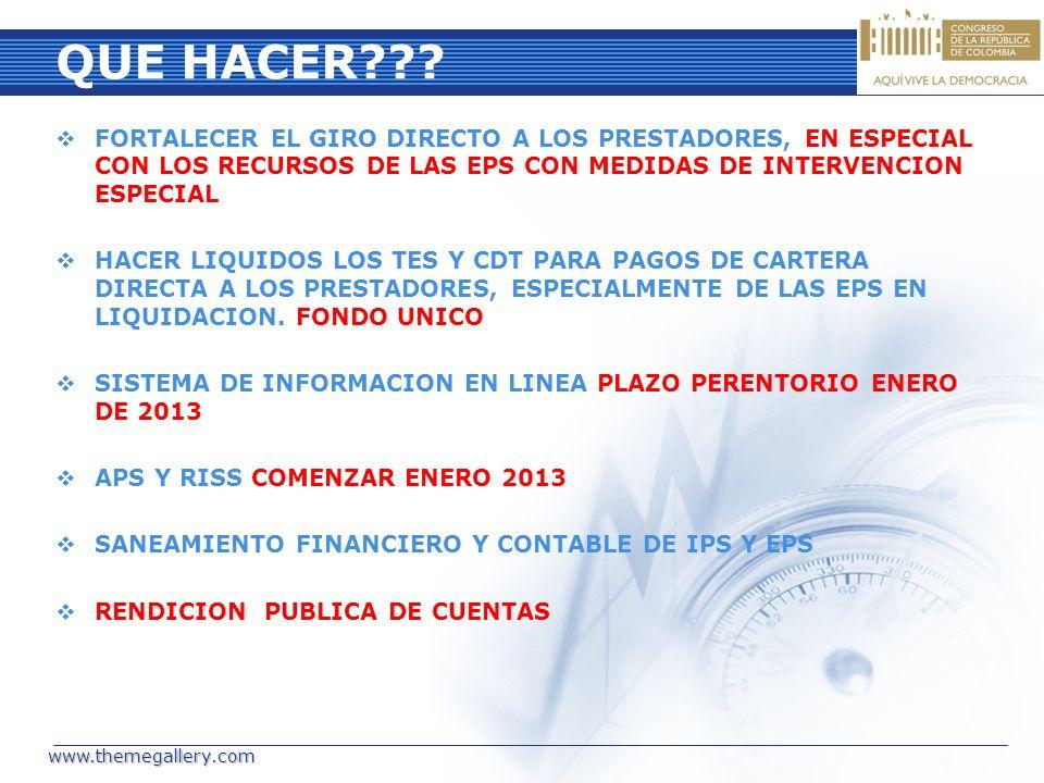 QUE HACER??? FORTALECER EL GIRO DIRECTO A LOS PRESTADORES, EN ESPECIAL CON LOS RECURSOS DE LAS EPS CON MEDIDAS DE INTERVENCION ESPECIAL HACER LIQUIDOS