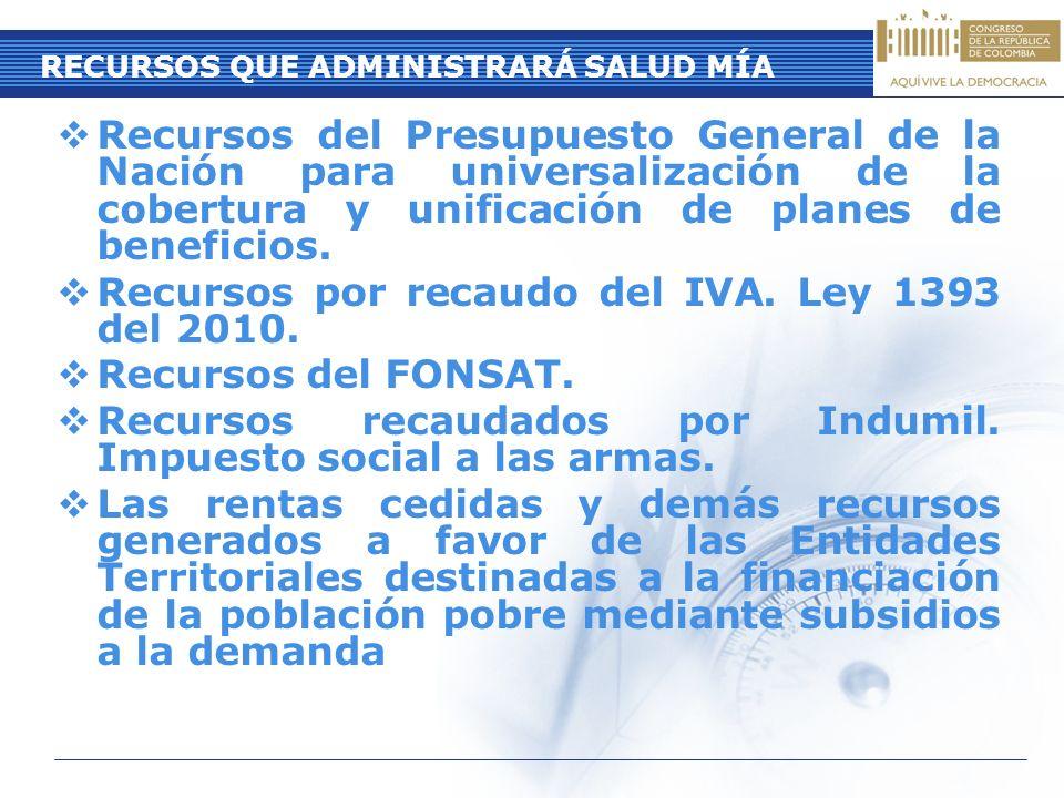 Recursos del Presupuesto General de la Nación para universalización de la cobertura y unificación de planes de beneficios. Recursos por recaudo del IV