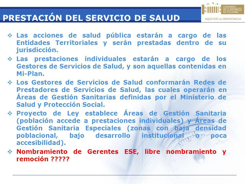 PRESTACIÓN DEL SERVICIO DE SALUD Las acciones de salud pública estarán a cargo de las Entidades Territoriales y serán prestadas dentro de su jurisdicc