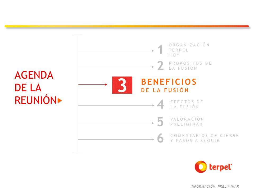 INFORMACIÓN PRELIMINAR AGENDA DE LA REUNIÓN COMENTARIOS DE CIERRE Y PASOS A SEGUIR 6 ORGANIZACIÓN TERPEL HOY 1 2 PROPÓSITOS DE LA FUSIÓN EFECTOS DE LA