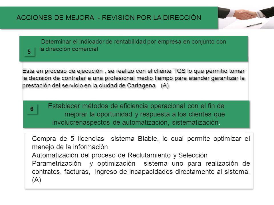 . Determinar el indicador de rentabilidad por empresa en conjunto con la dirección comercial Esta en proceso de ejecución, se realizo con el cliente T