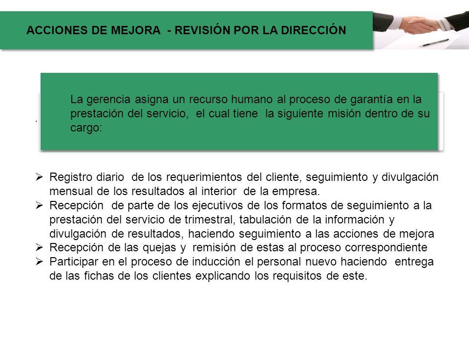 . ACCIONES DE MEJORA - REVISIÓN POR LA DIRECCIÓN La gerencia asigna un recurso humano al proceso de garantía en la prestación del servicio, el cual ti