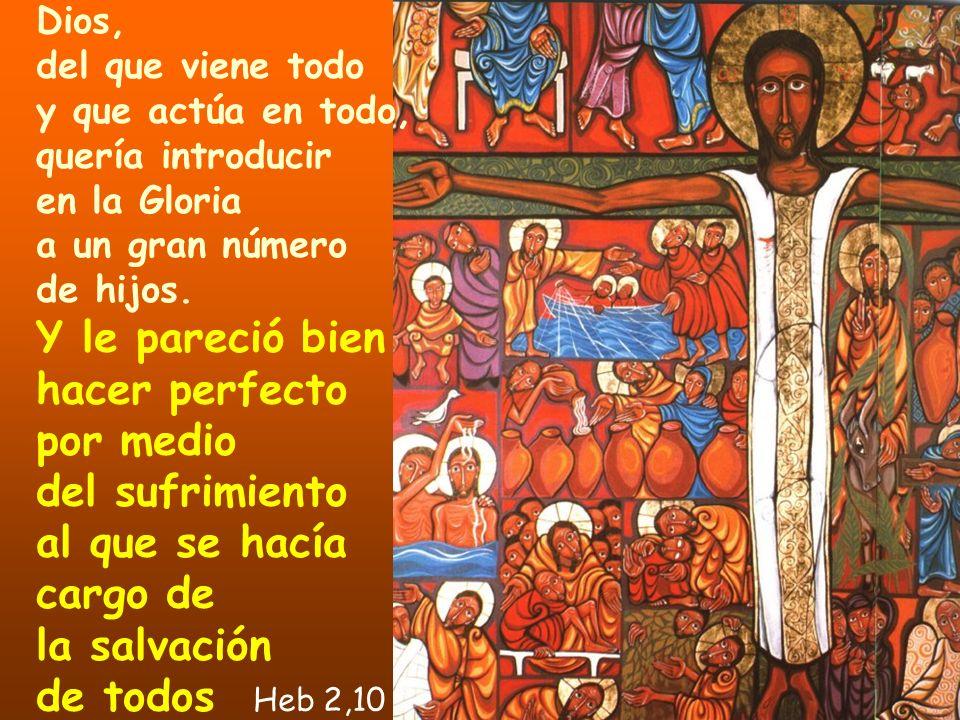 Y le pareció bien hacer perfecto por medio del sufrimiento al que se hacía cargo de la salvación de todos Heb 2,10 Dios, del que viene todo y que actú