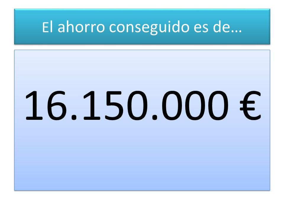 E l ahorro conseguido es de… 16.150.000 16.150.000