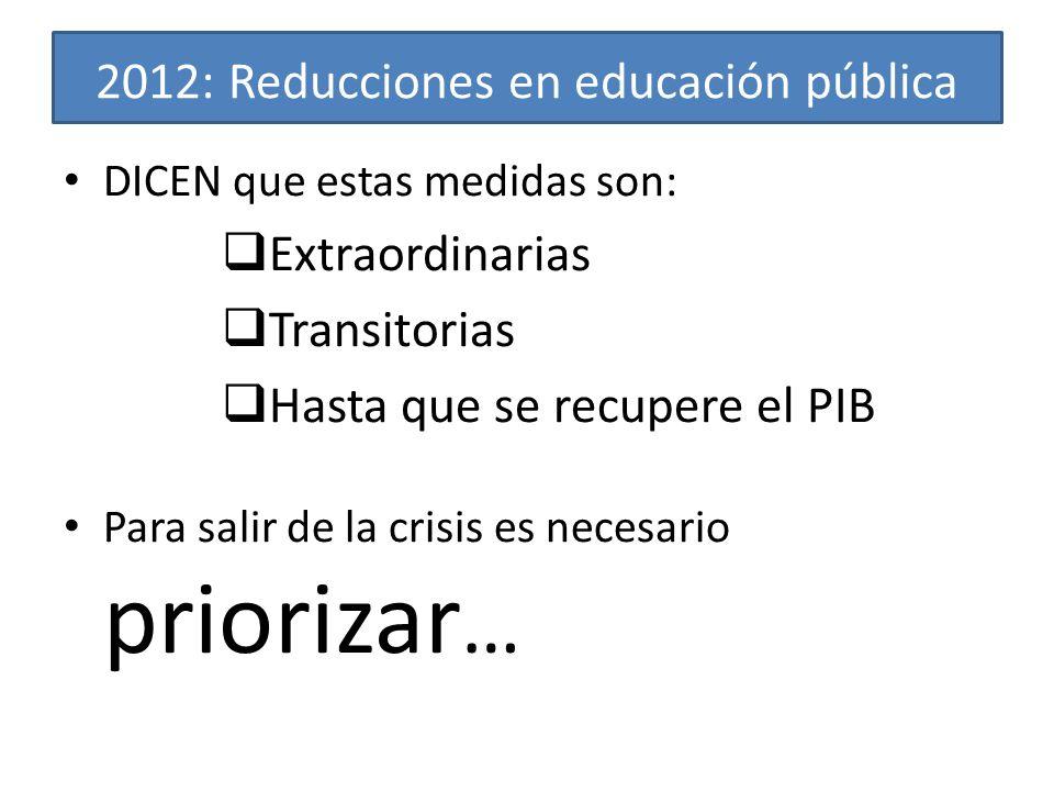 2012: Reducciones en educación pública DICEN que estas medidas son: Extraordinarias Transitorias Hasta que se recupere el PIB Para salir de la crisis es necesario priorizar …