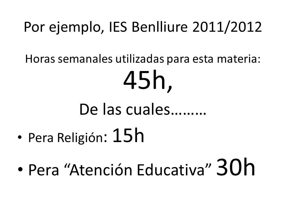Por ejemplo, IES Benlliure 2011/2012 Horas semanales utilizadas para esta materia: 45h, De las cuales……… Pera Religión : 15h Pera Atención Educativa 30h