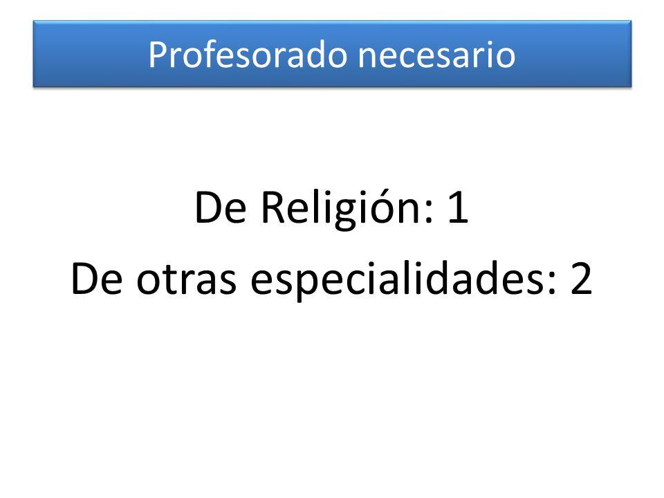 Profesorado necesario De Religión: 1 De otras especialidades: 2