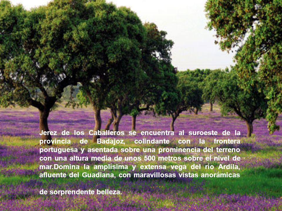Jerez de los Caballeros se encuentra al suroeste de la provincia de Badajoz, colindante con la frontera portuguesa y asentada sobre una prominencia de