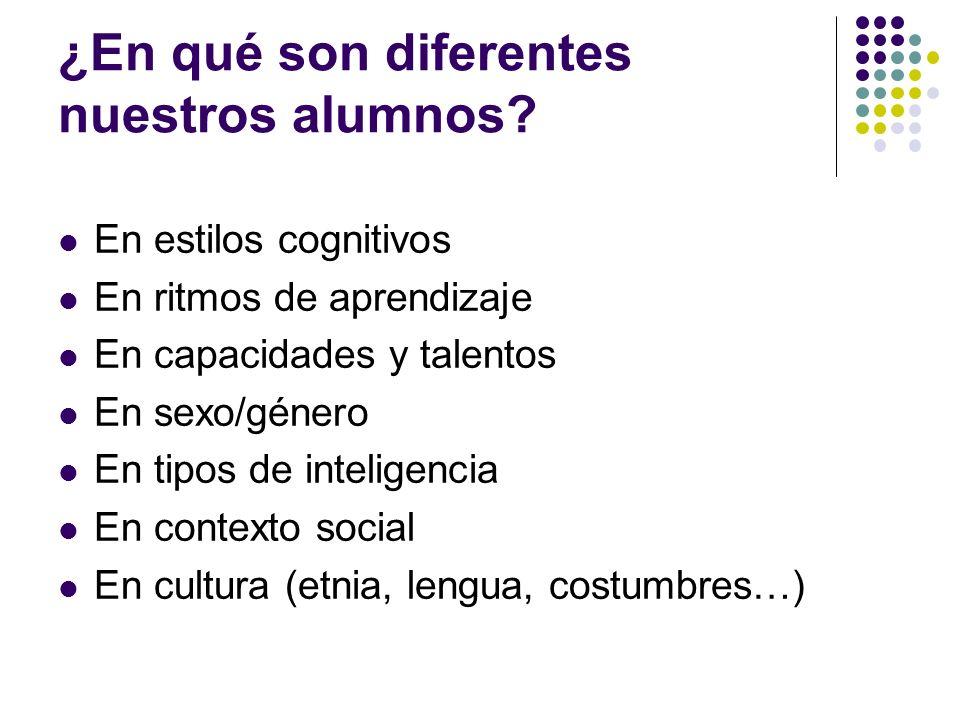 ¿En qué son diferentes nuestros alumnos? En estilos cognitivos En ritmos de aprendizaje En capacidades y talentos En sexo/género En tipos de inteligen