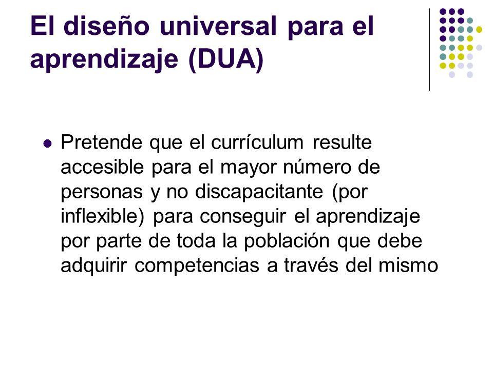 El diseño universal para el aprendizaje (DUA) Pretende que el currículum resulte accesible para el mayor número de personas y no discapacitante (por i