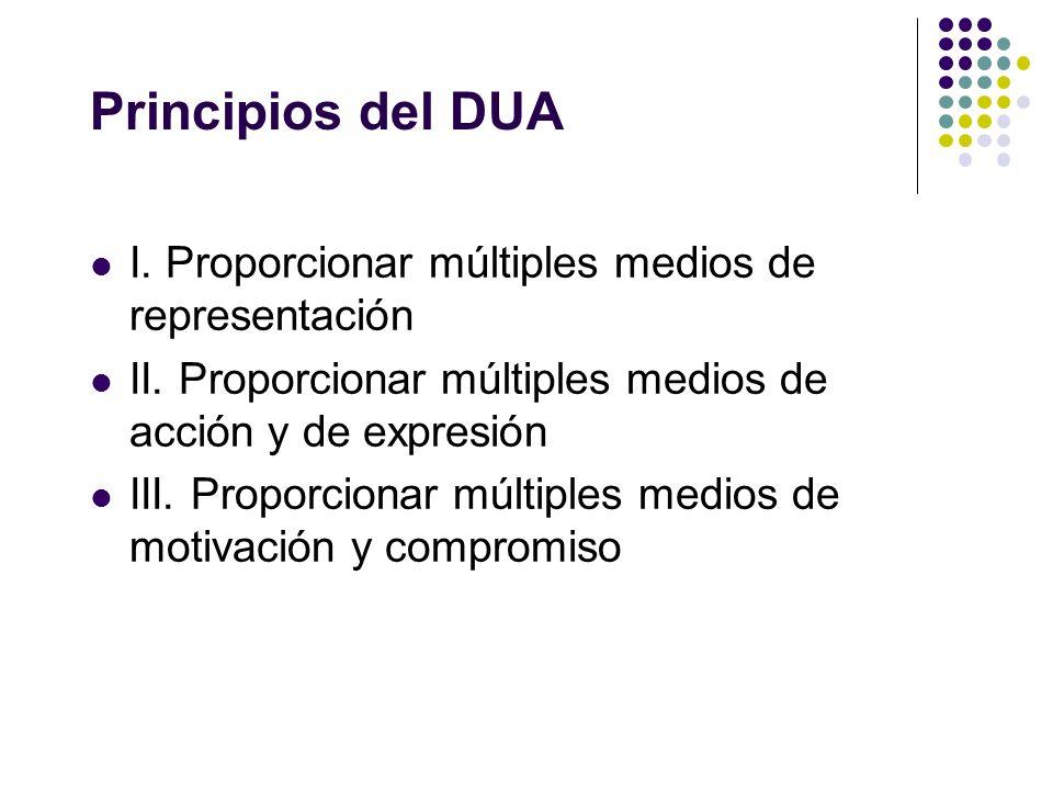 Principios del DUA I. Proporcionar múltiples medios de representación II. Proporcionar múltiples medios de acción y de expresión III. Proporcionar múl