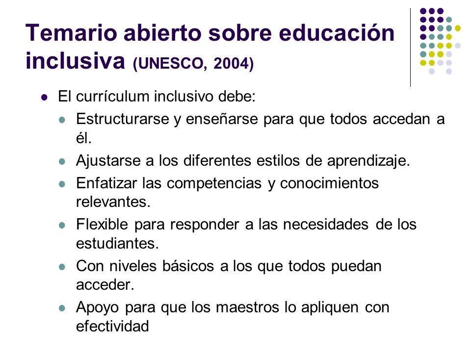 Temario abierto sobre educación inclusiva (UNESCO, 2004) El currículum inclusivo debe: Estructurarse y enseñarse para que todos accedan a él. Ajustars