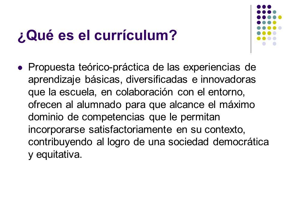 ¿Qué es el currículum? Propuesta teórico-práctica de las experiencias de aprendizaje básicas, diversificadas e innovadoras que la escuela, en colabora