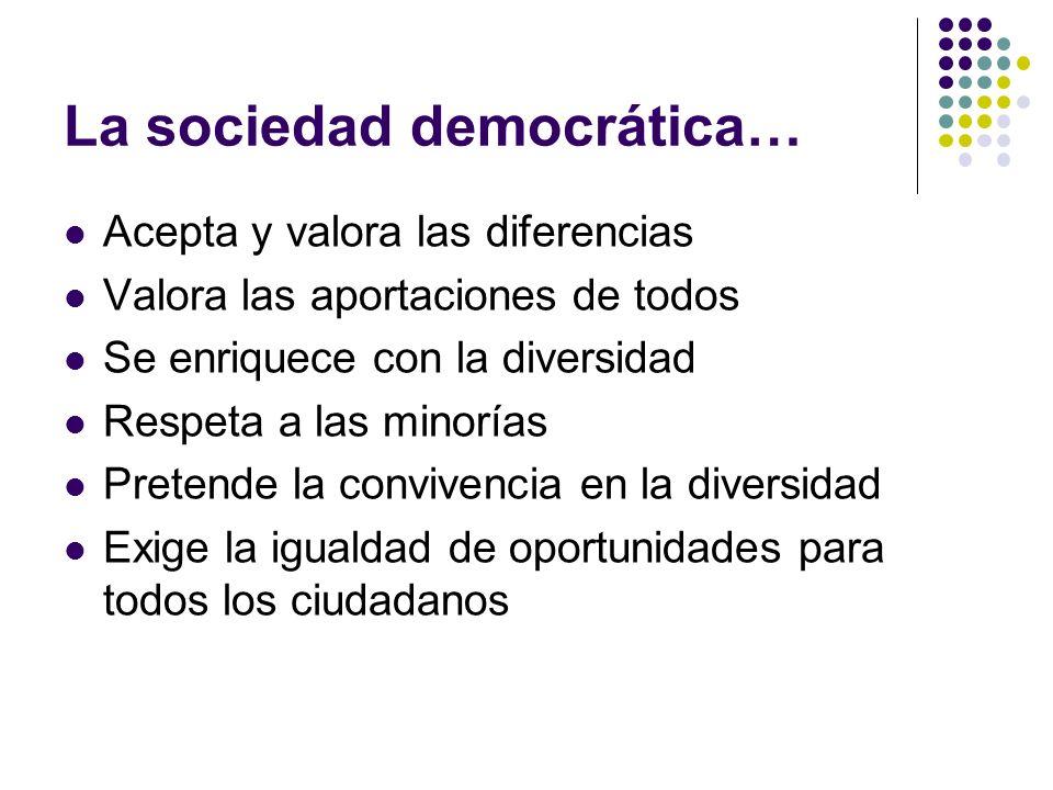 La sociedad democrática… Acepta y valora las diferencias Valora las aportaciones de todos Se enriquece con la diversidad Respeta a las minorías Preten