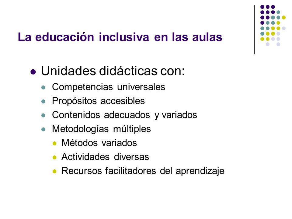La educación inclusiva en las aulas Unidades didácticas con: Competencias universales Propósitos accesibles Contenidos adecuados y variados Metodologí