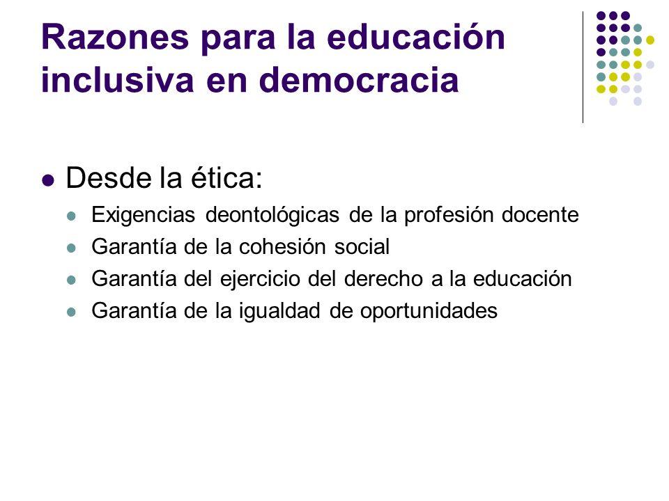 Razones para la educación inclusiva en democracia Desde la ética: Exigencias deontológicas de la profesión docente Garantía de la cohesión social Gara