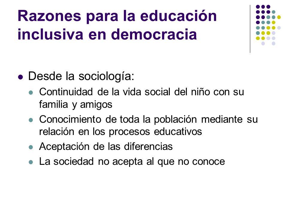 Razones para la educación inclusiva en democracia Desde la sociología: Continuidad de la vida social del niño con su familia y amigos Conocimiento de