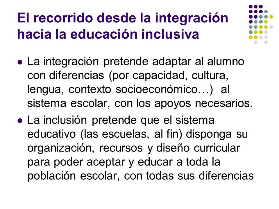 El recorrido desde la integración hacia la educación inclusiva La integración pretende adaptar al alumno con diferencias (por capacidad, cultura, leng