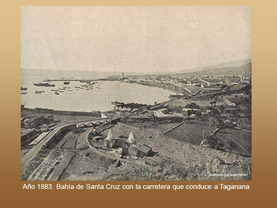 Realizado por Ángel Pérez Año 1883. Bahía de Santa Cruz con la carretera que conduce a Taganana