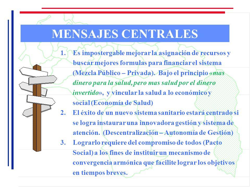 MENSAJES CENTRALES 1.Es impostergable mejorar la asignación de recursos y buscar mejores formulas para financiar el sistema (Mezcla Público – Privada)