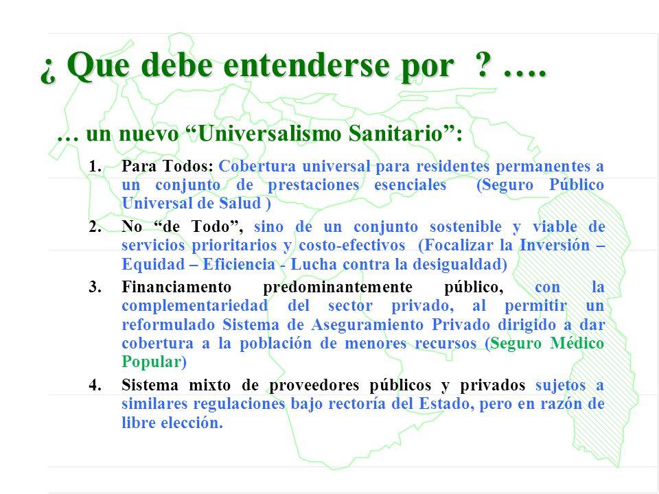 ¿ Que debe entenderse por ? …. … un nuevo Universalismo Sanitario: 1.Para Todos: Cobertura universal para residentes permanentes a un conjunto de pres