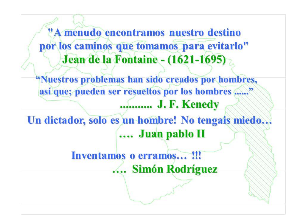 Nuestros problemas han sido creados por hombres, así que; pueden ser resueltos por los hombres................. J. F. Kenedy