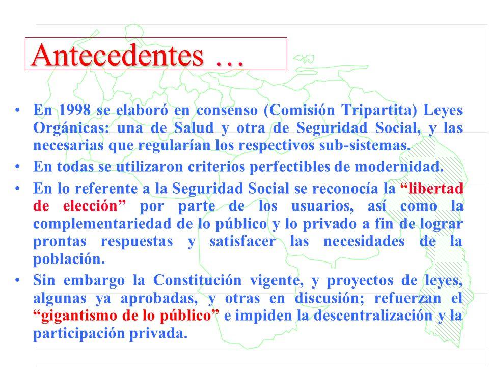 Antecedentes … En 1998 se elaboró en consenso (Comisión Tripartita) Leyes Orgánicas: una de Salud y otra de Seguridad Social, y las necesarias que reg