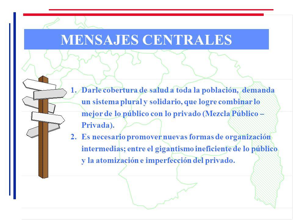MENSAJES CENTRALES 1.Darle cobertura de salud a toda la población, demanda un sistema plural y solidario, que logre combinar lo mejor de lo público co