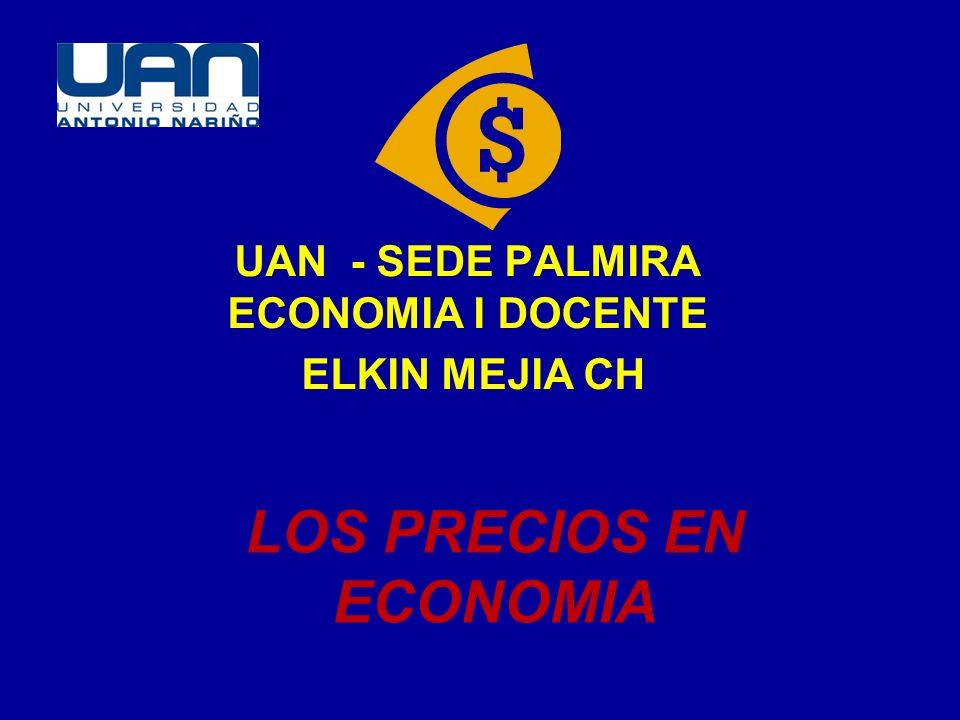 LOS PRECIOS EN ECONOMIA UAN - SEDE PALMIRA ECONOMIA I DOCENTE ELKIN MEJIA CH