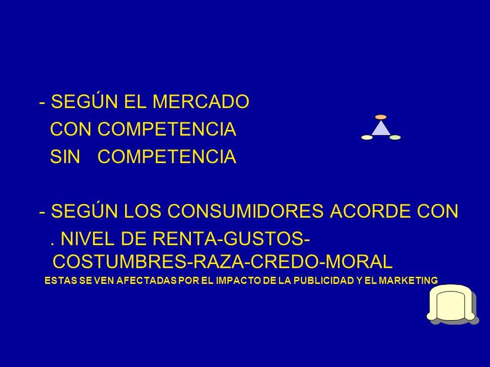 - SEGÚN EL MERCADO CON COMPETENCIA SIN COMPETENCIA - SEGÚN LOS CONSUMIDORES ACORDE CON. NIVEL DE RENTA-GUSTOS- COSTUMBRES-RAZA-CREDO-MORAL ESTAS SE VE