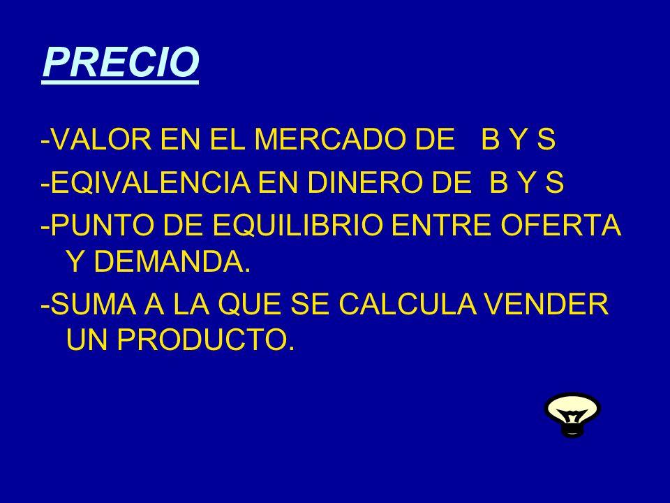PRECIO -VALOR EN EL MERCADO DE B Y S -EQIVALENCIA EN DINERO DE B Y S -PUNTO DE EQUILIBRIO ENTRE OFERTA Y DEMANDA. -SUMA A LA QUE SE CALCULA VENDER UN