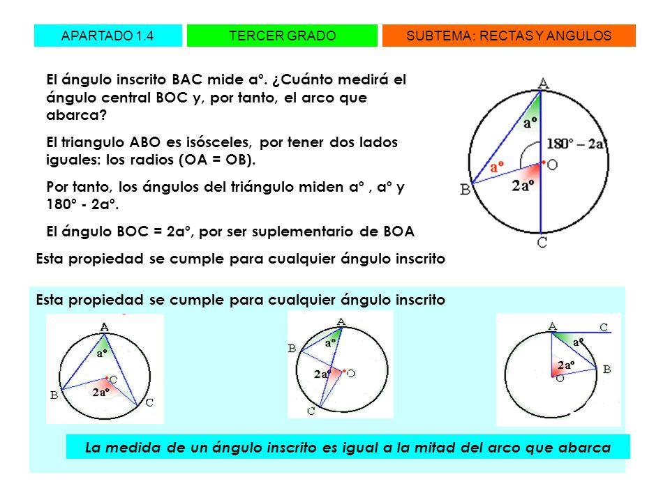 APARTADO 1.4TERCER GRADOSUBTEMA : RECTAS Y ANGULOS El ángulo inscrito BAC mide aº. ¿Cuánto medirá el ángulo central BOC y, por tanto, el arco que abar