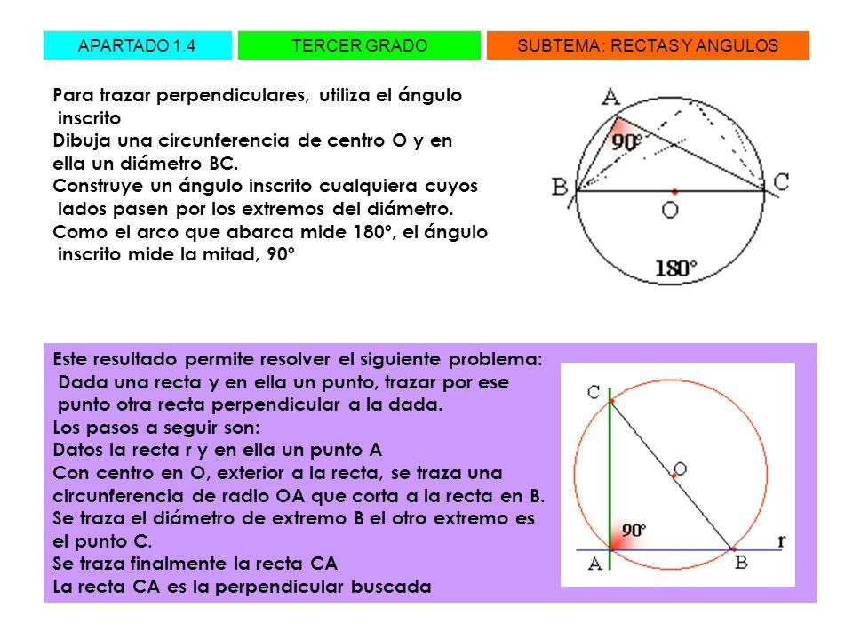 APARTADO 1.4TERCER GRADOSUBTEMA : RECTAS Y ANGULOS Para trazar perpendiculares, utiliza el ángulo inscrito Dibuja una circunferencia de centro O y en