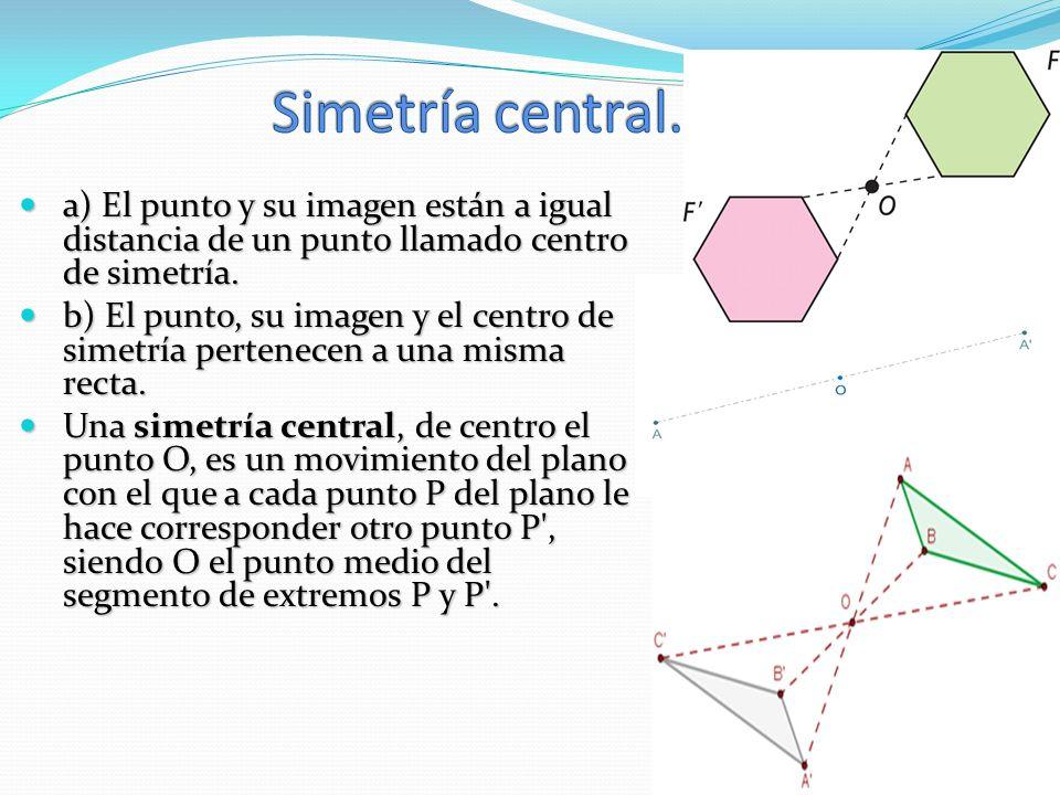 a) El punto y su imagen están a igual distancia de un punto llamado centro de simetría. a) El punto y su imagen están a igual distancia de un punto ll