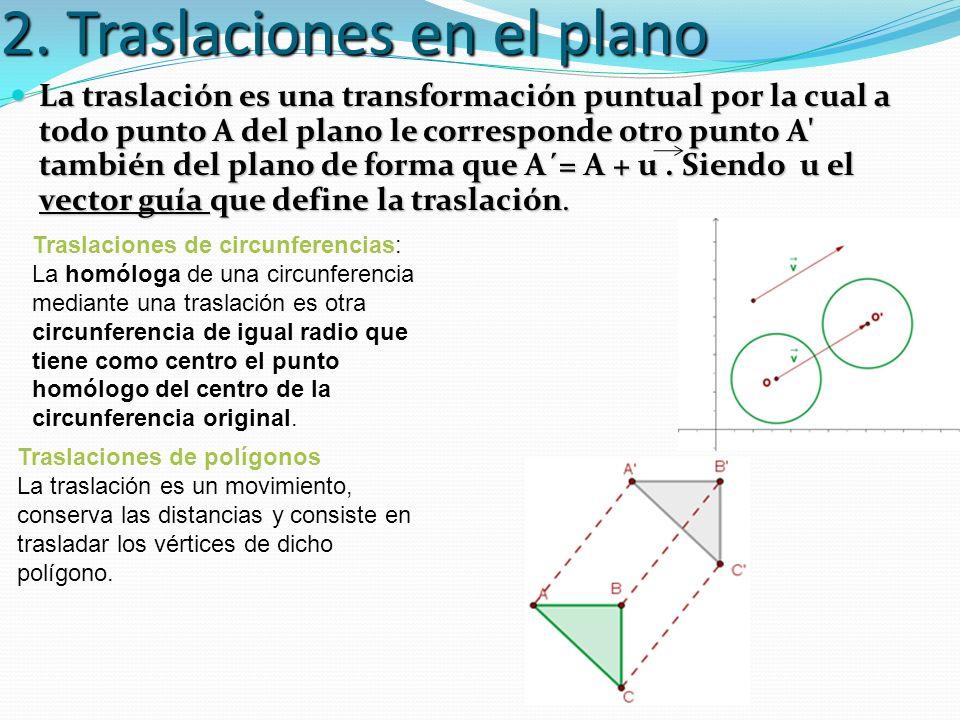 2. Traslaciones en el plano La traslación es una transformación puntual por la cual a todo punto A del plano le corresponde otro punto A' también del