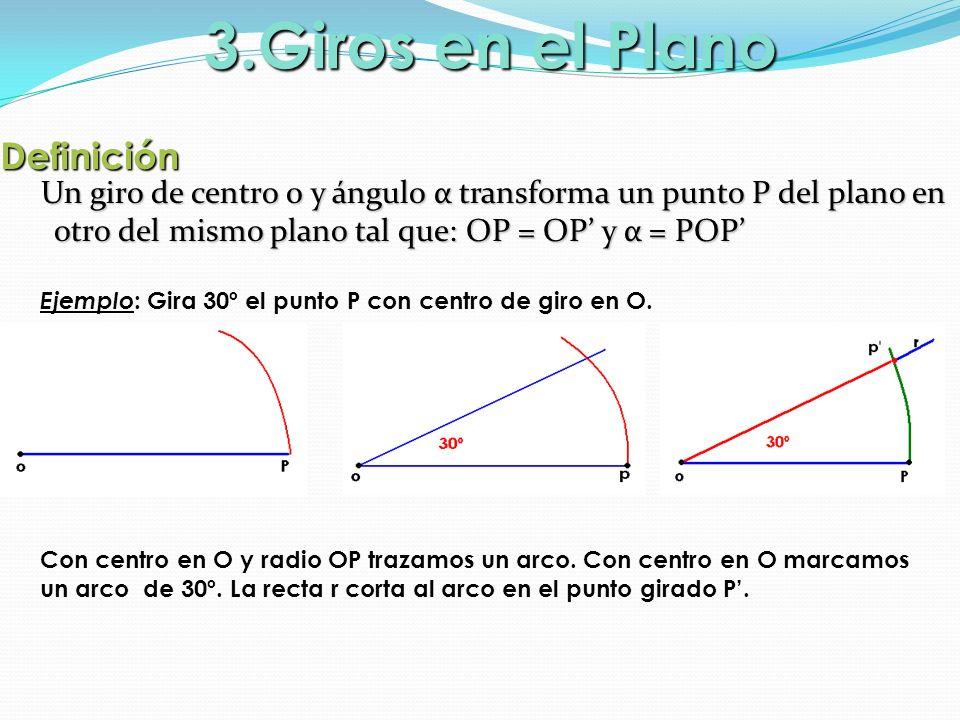 Definición Un giro de centro 0 y ángulo α transforma un punto P del plano en otro del mismo plano tal que: OP = OP y α = POP Un giro de centro 0 y áng
