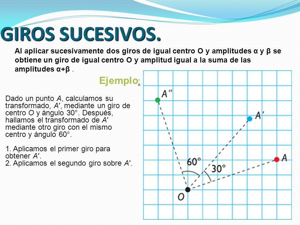 GIROS SUCESIVOS. Al aplicar sucesivamente dos giros de igual centro O y amplitudes α y β se obtiene un giro de igual centro O y amplitud igual a la su