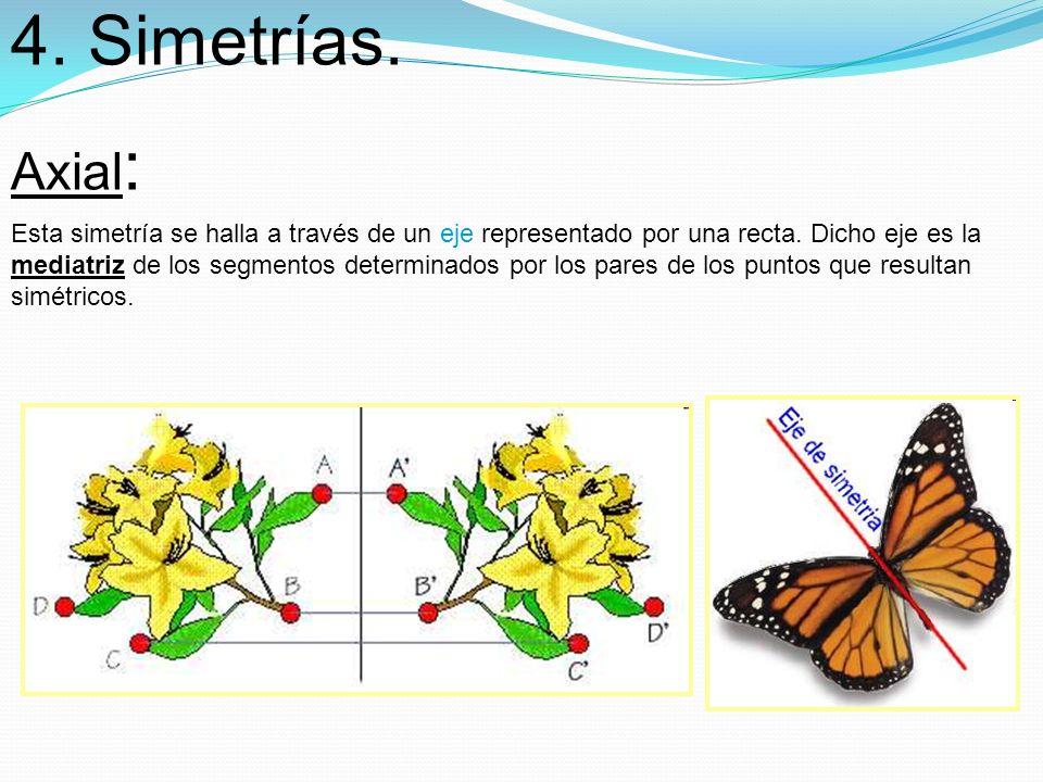 4. Simetrías. Axial : Esta simetría se halla a través de un eje representado por una recta. Dicho eje es la mediatriz de los segmentos determinados po
