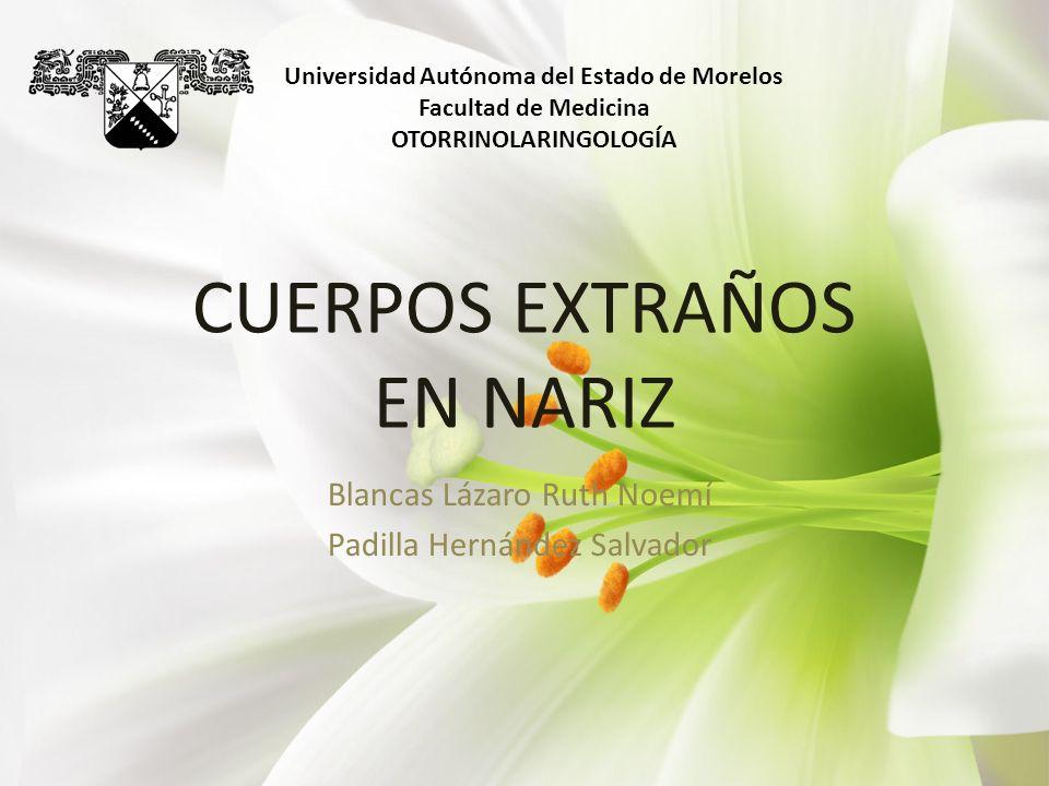 CUERPOS EXTRAÑOS EN NARIZ Blancas Lázaro Ruth Noemí Padilla Hernández Salvador Universidad Autónoma del Estado de Morelos Facultad de Medicina OTORRIN