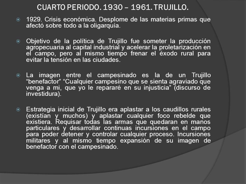 CUARTO PERIODO.1930 – 1961. TRUJILLO. 1929. Crisis económica.