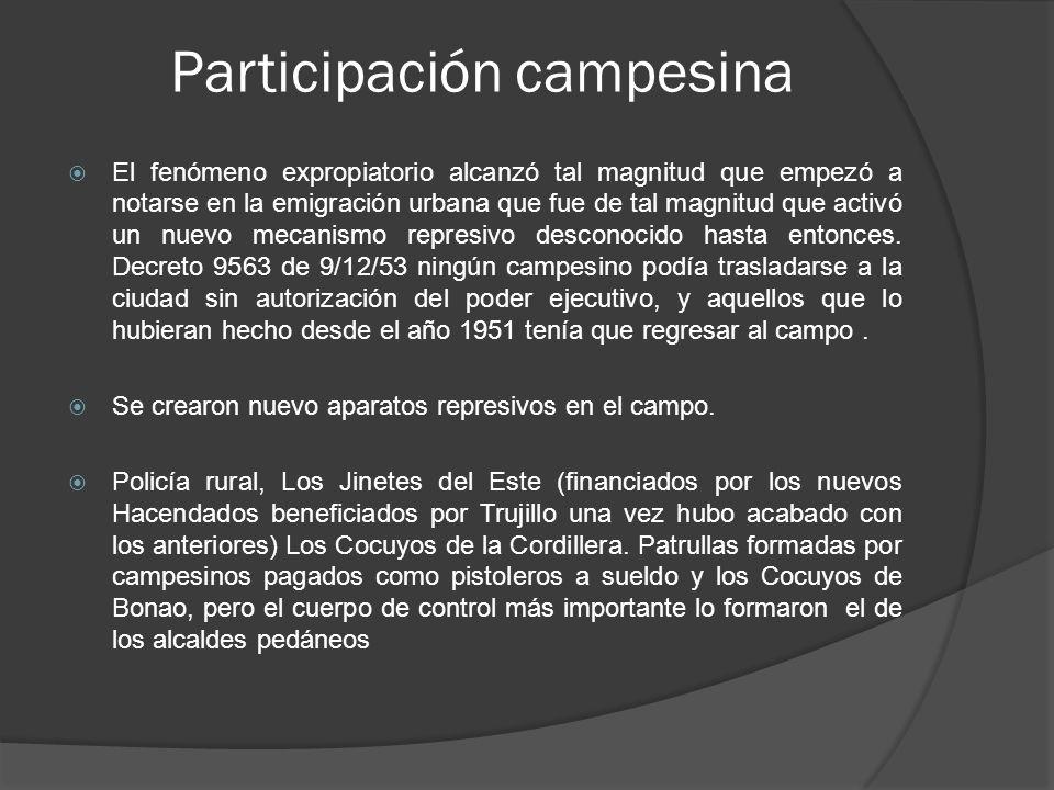 Participación campesina El fenómeno expropiatorio alcanzó tal magnitud que empezó a notarse en la emigración urbana que fue de tal magnitud que activó un nuevo mecanismo represivo desconocido hasta entonces.