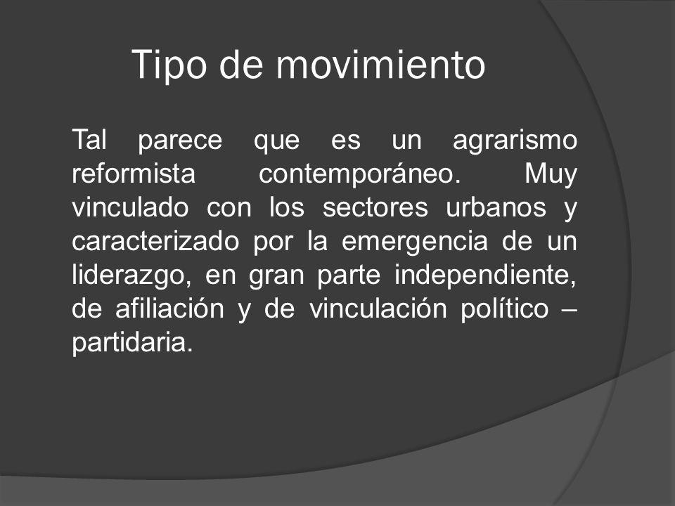 Tipo de movimiento Tal parece que es un agrarismo reformista contemporáneo.