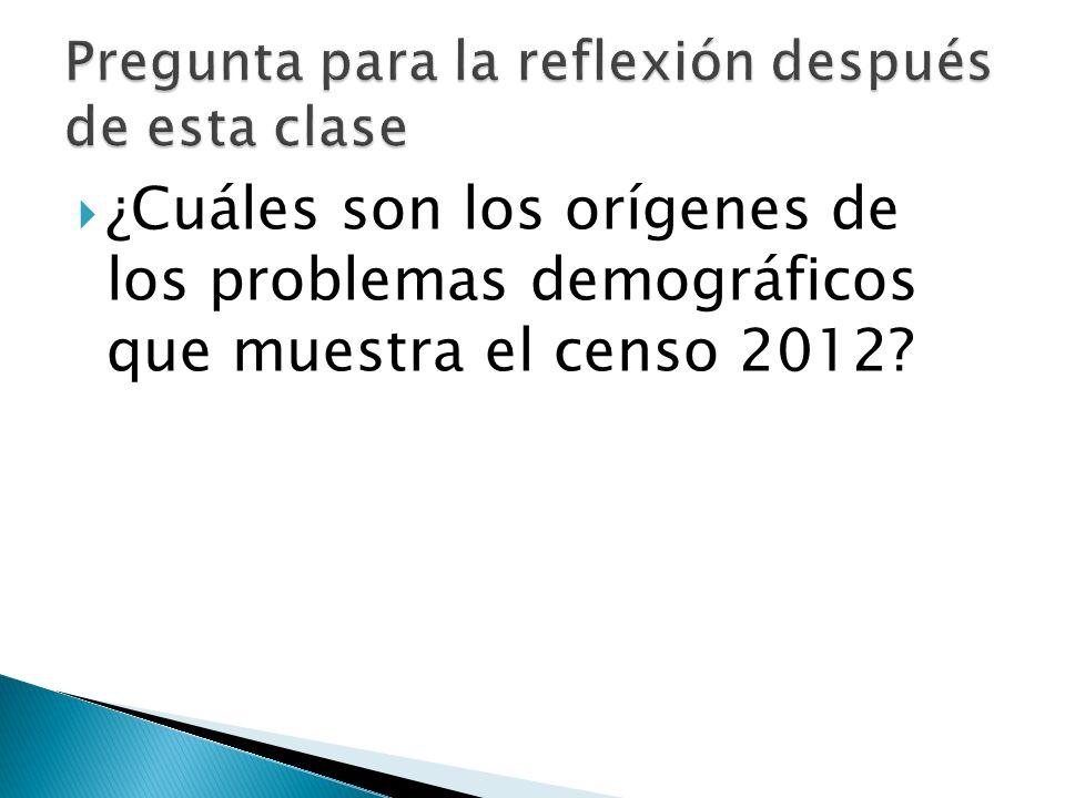 ¿Cuáles son los orígenes de los problemas demográficos que muestra el censo 2012
