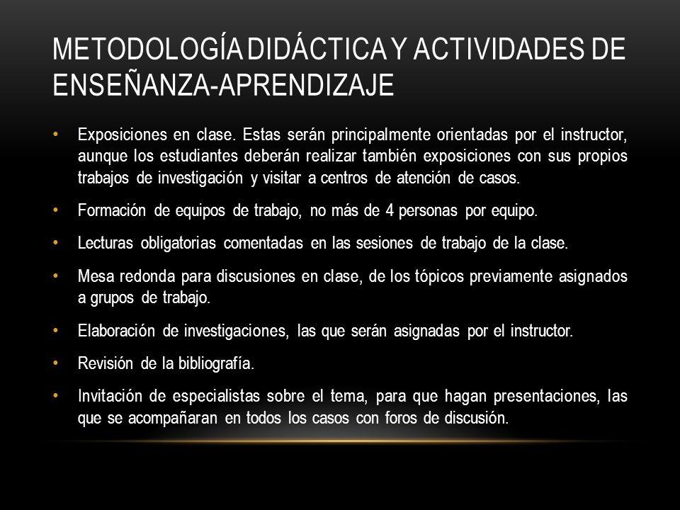 METODOLOGÍA DIDÁCTICA Y ACTIVIDADES DE ENSEÑANZA-APRENDIZAJE Exposiciones en clase.