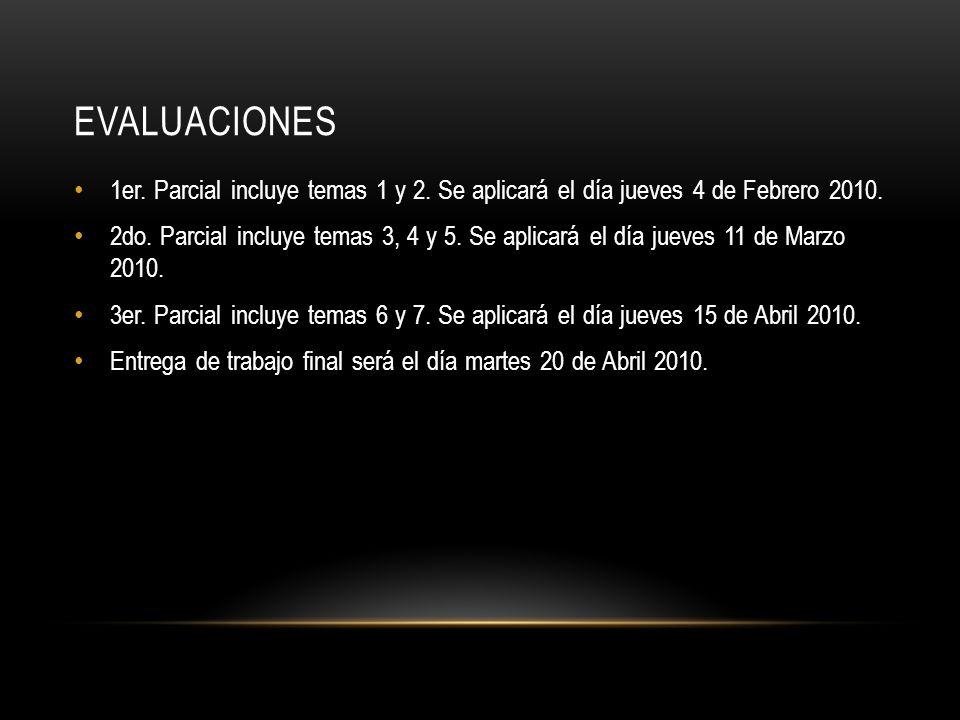 EVALUACIONES 1er.Parcial incluye temas 1 y 2. Se aplicará el día jueves 4 de Febrero 2010.