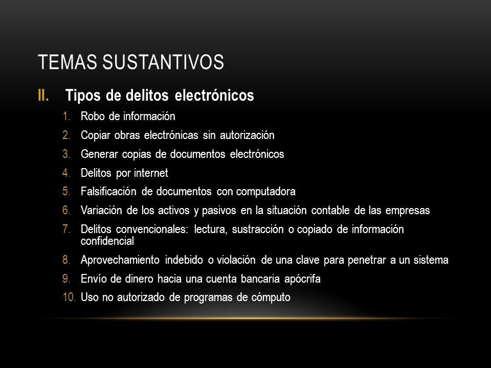 TEMAS SUSTANTIVOS II.